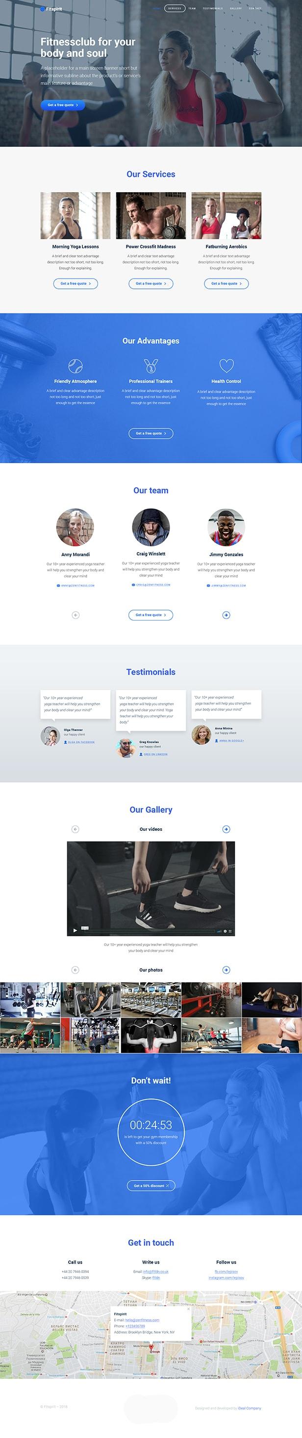 HTML template Fitspirit